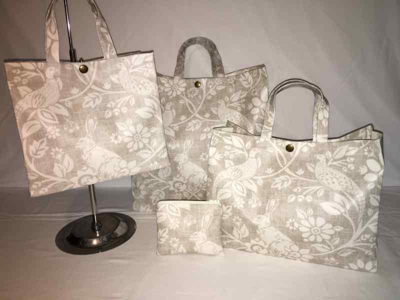 Hare /& Pheasants Nikki/'s Original Tote Bags 100/% Cotton Oilcloth Heathland Ecru