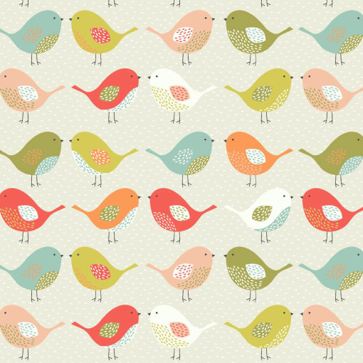 Scandi Birds Tweety Fruity Plain Olive