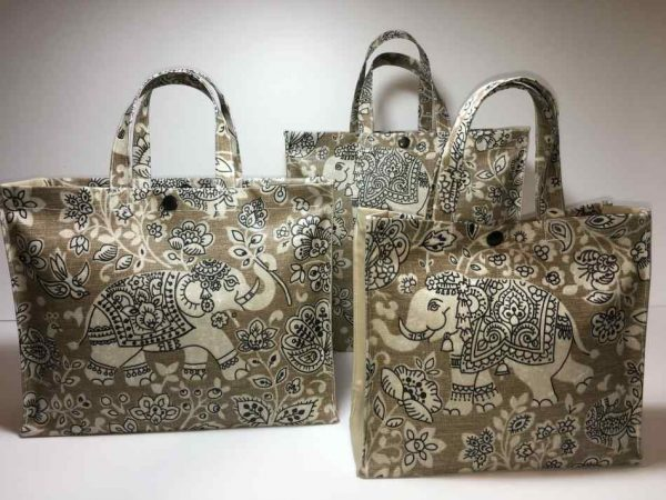 Indira Elephants Canvas and Taupe Collection
