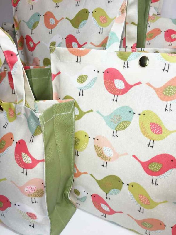 Scandi Birds Tweety Fruity Plain Olive Close Up